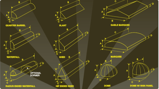 CAD sketches of building sing with lables and dimensions