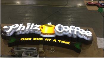 Philz coffee building sign getting ready for shipment to new location