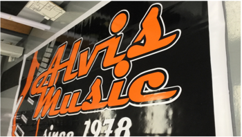 Alvis music printed on paper sign