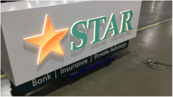 Star Bank, Insurance, Private Advisory building sign at factory getting ready for shipment
